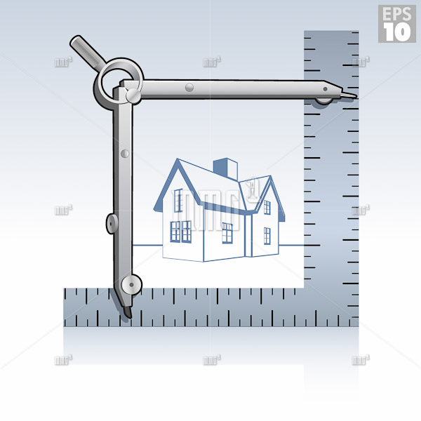 Compass, square ruler framing the outline of a house, remodeling