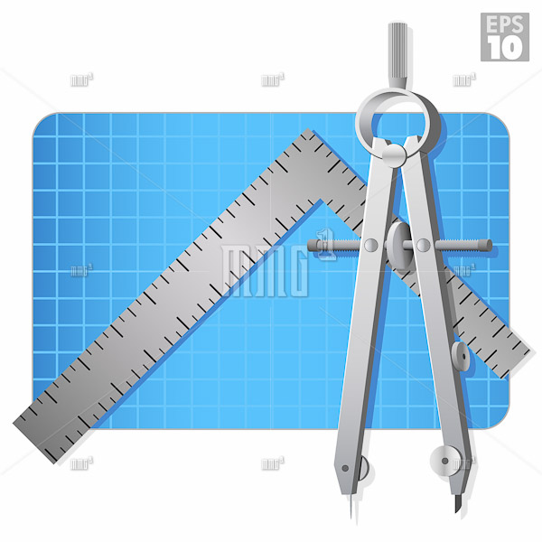 Architectural compass, metal square ruler, and construction blue