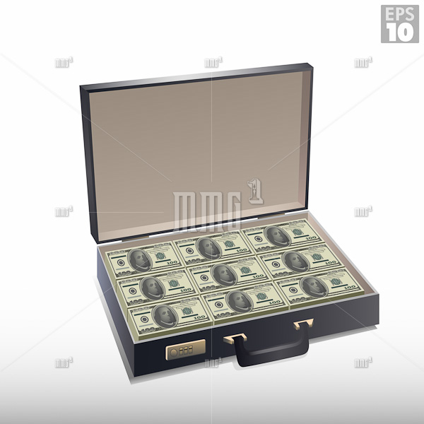 Briefcase full of money, with stacks of hundred dollar bills