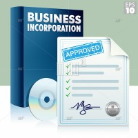 Business incorporation kit with box, cd and approved documents.
