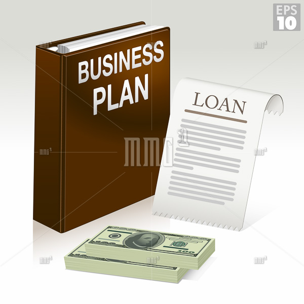 Business Plan folder, loan application document and stack of money