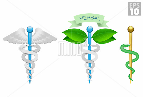 Herbal caduceus, Rod of Aesculapius, Medical icons, snake, rod a