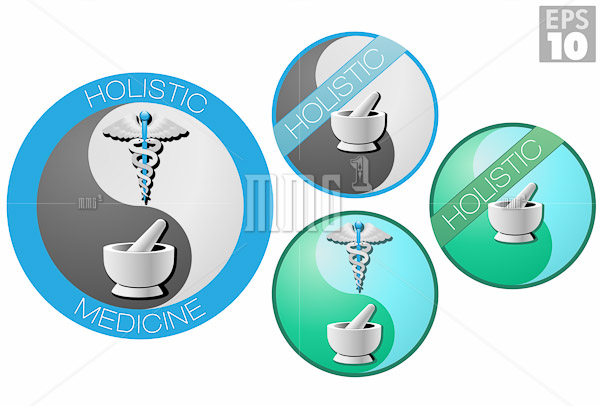 Holistic medicine icons, caduceus, short staff entwined by two s