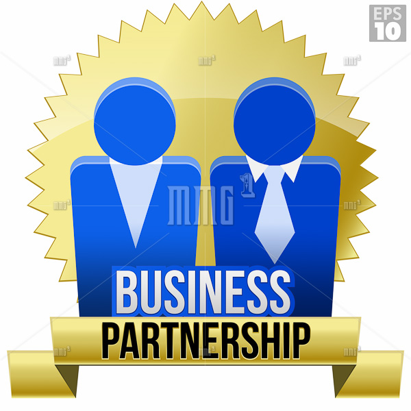 Legal Business Partnership Seal With Gold Ribbon, With Two Business Men Icons Standing Together.