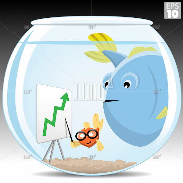 Little fish selling a big idea to a big fish in a small bowl