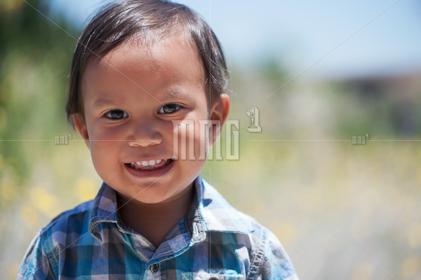 Smiling boy 2 year old wearing plaid shirt outdoors on a sunny summer day looking healthy and happy