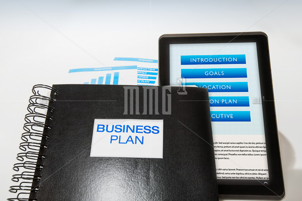 Business plan package includes printed booklet and digital presentation
