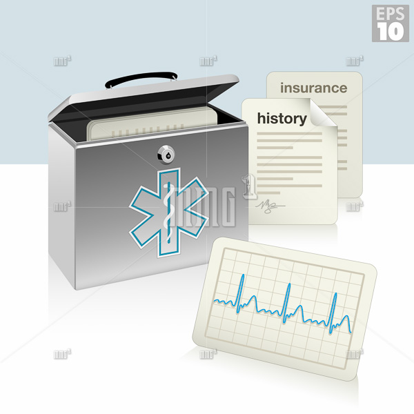 Medical security box with medical history, ecg, and insurance documents, protected patient information.