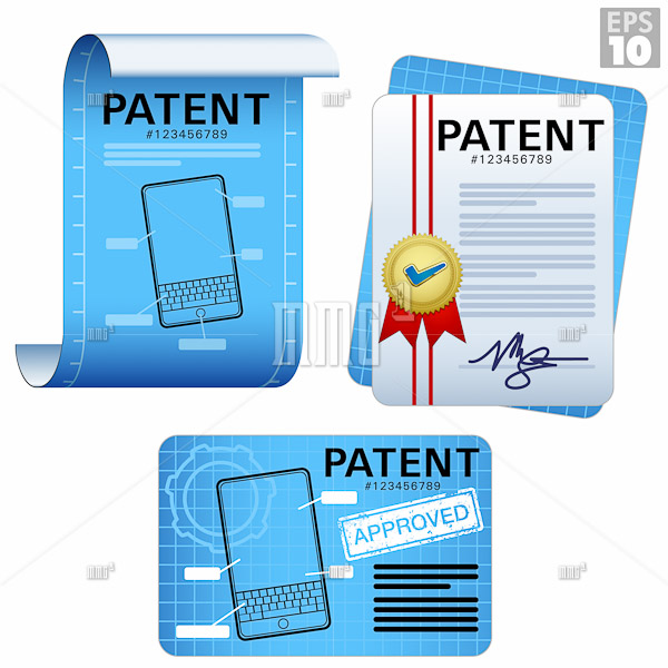 Patent documents, approved legal certificates, blueprints, paper