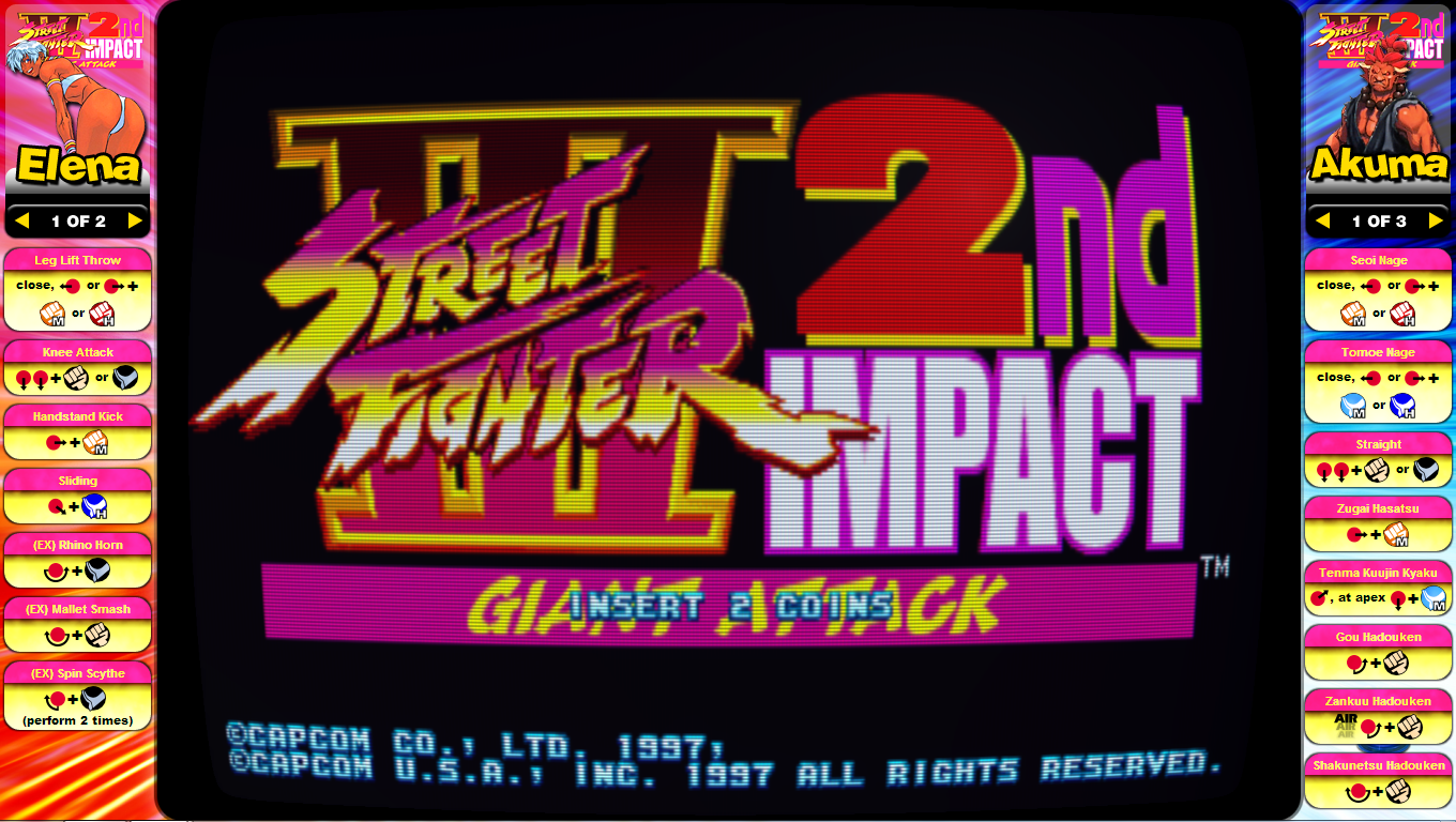 Street Fighter III 2nd Impact Giant Attack Instruction Card