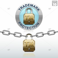Trademark protection icon with a padlock and metal link chain
