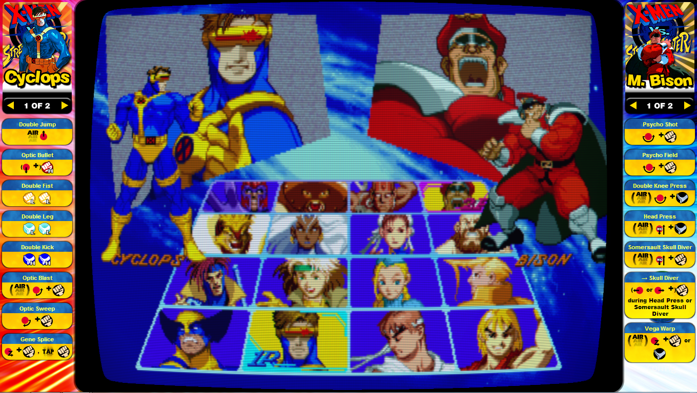 Xmen vs Street Fighter Instruction Card