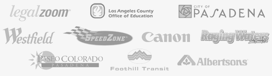 L.A. County Office of Education, City of Pasadena, Paseo Colorado Pasadena, Foothill Transit, Speedzone, Westfield Shoppingtown (Eagle Rock, Santa Anita, West Covina), Albertsons, Burger King, City of Monterey Park, Canon, Mt. San Antonio College, Adelphia, LA Works, Raging Waters, Knott's Berry Farm